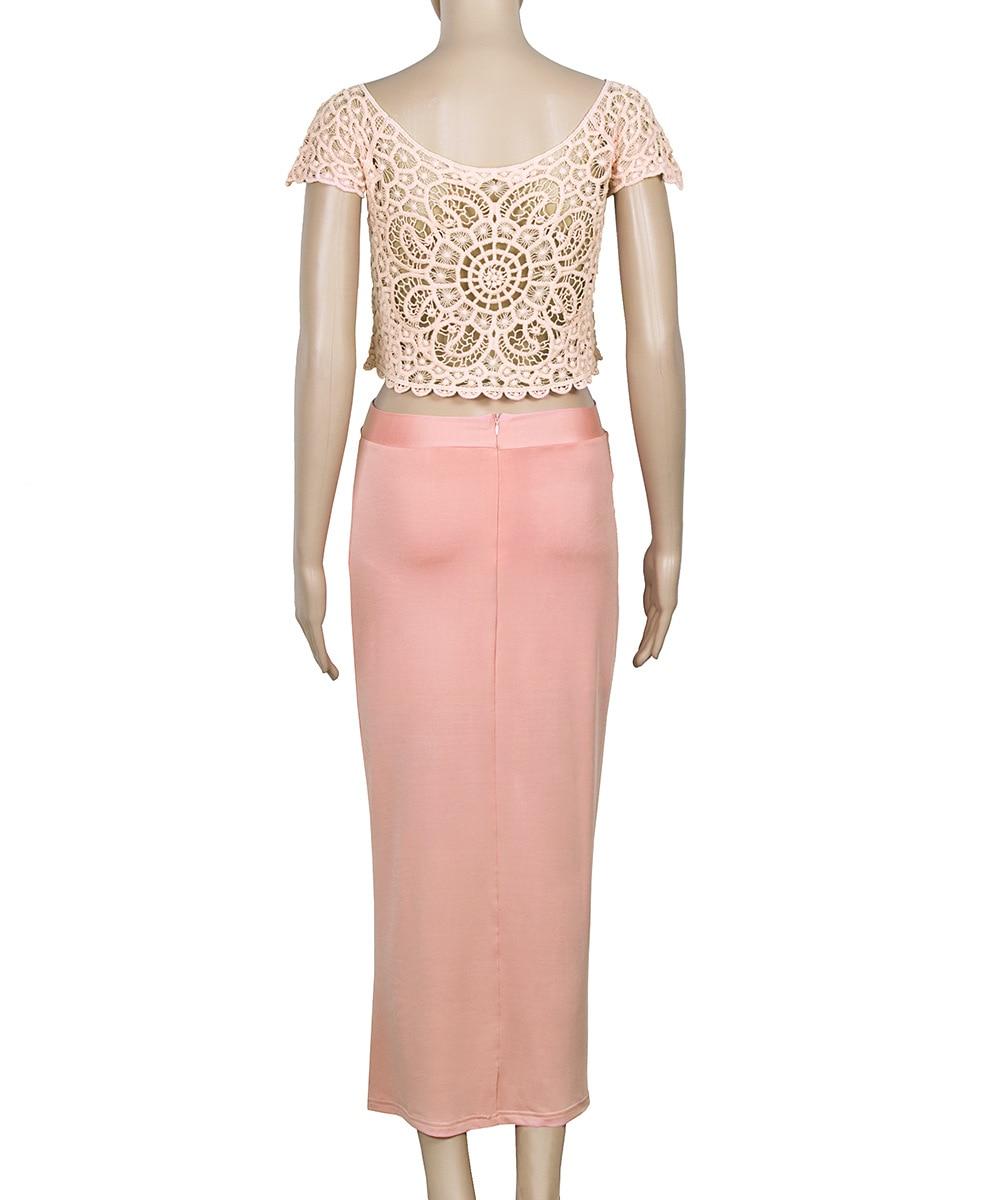 Elegante Damen Lace Crochet Front Splits 2-teiliges Set Club Dress - Damenbekleidung - Foto 5