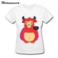 Для женщин футболки дышащая короткий рукав 100% хлопок овец Изображения Футболка брендовая одежда футболка для леди wtd016