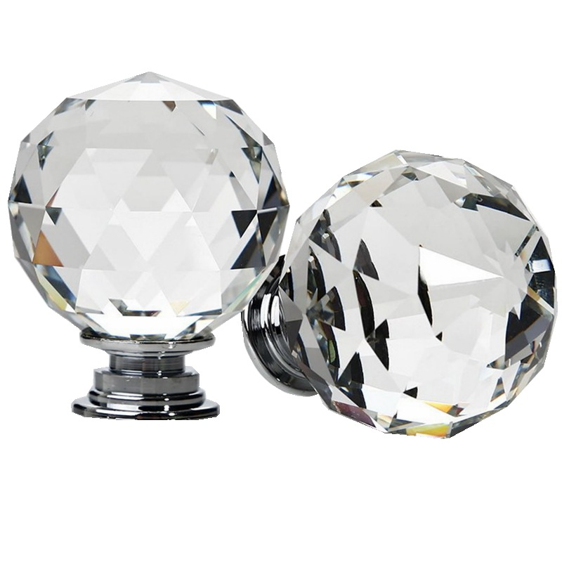 40mm Diamond Shape Crystal Glass Door Handle Knob With Screws for furniture Drawer Cabinet Kitchen Pull Handle Wardrobe vintage bird ceramic door knob children room cupboard cabinet drawer suitable kitchen furniture home pull handle with screws