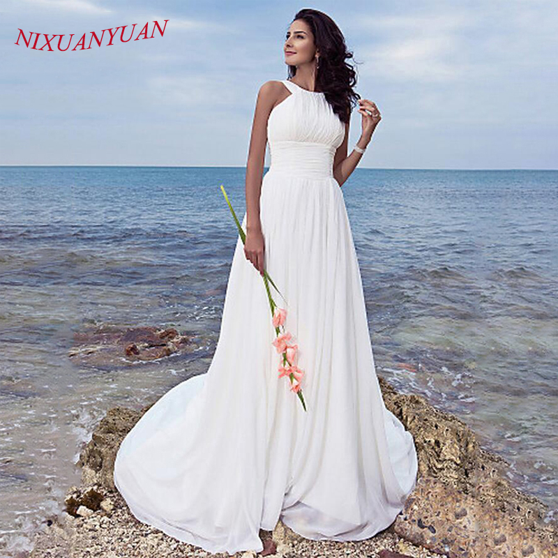 NIXUANYUAN A ラインプリーツビーチウェディングドレスストラップオープンバックジッパーホワイトシフォン花嫁衣装 2019 シンプルな Vestido デ · ノビア  グループ上の ウェディング & イベント からの ウェディングドレス の中 1