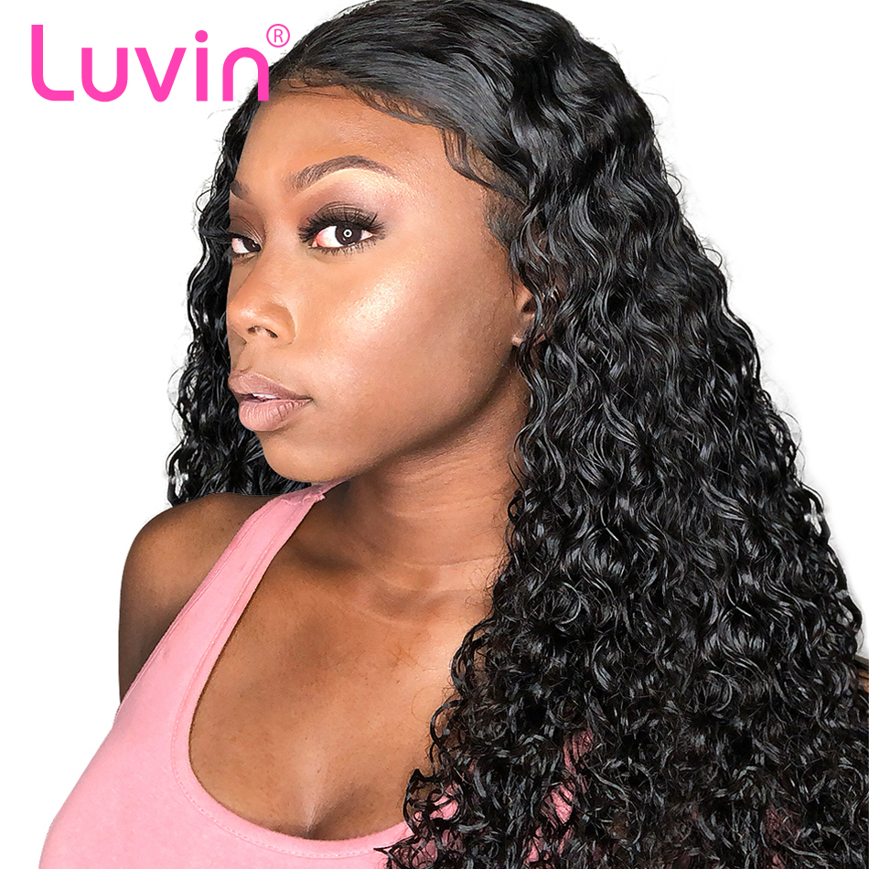 Luvin 360 Lace Frontal Wigs For Black Women Pre Plucked Natural Hairline Malaysian Curly Remy Human Hair Wigs For Black Women monochrome