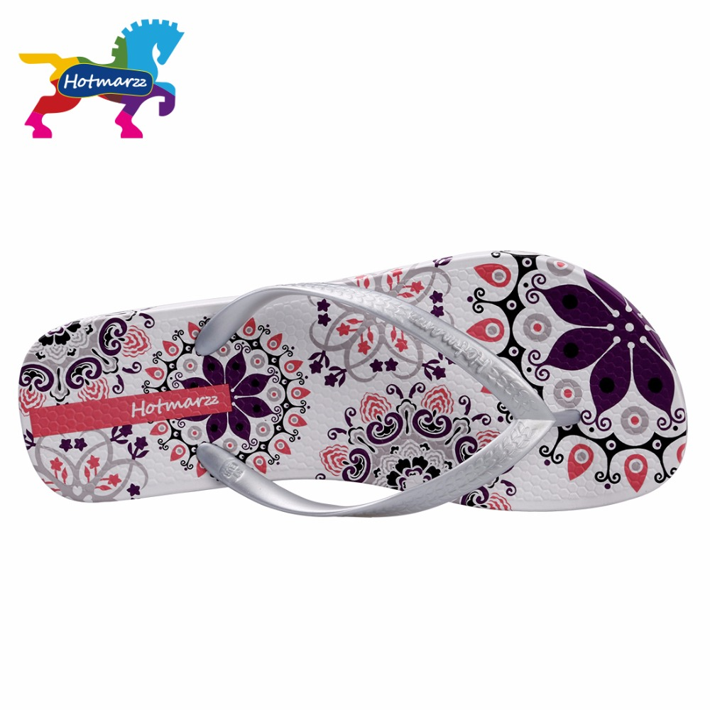 Hotmarzz Women Summer Bohemia Beach Sandals Flat Flip Flops Ladies Fashion Slippers Indoor Shoes Silver Floral Slides in Flip Flops from Shoes