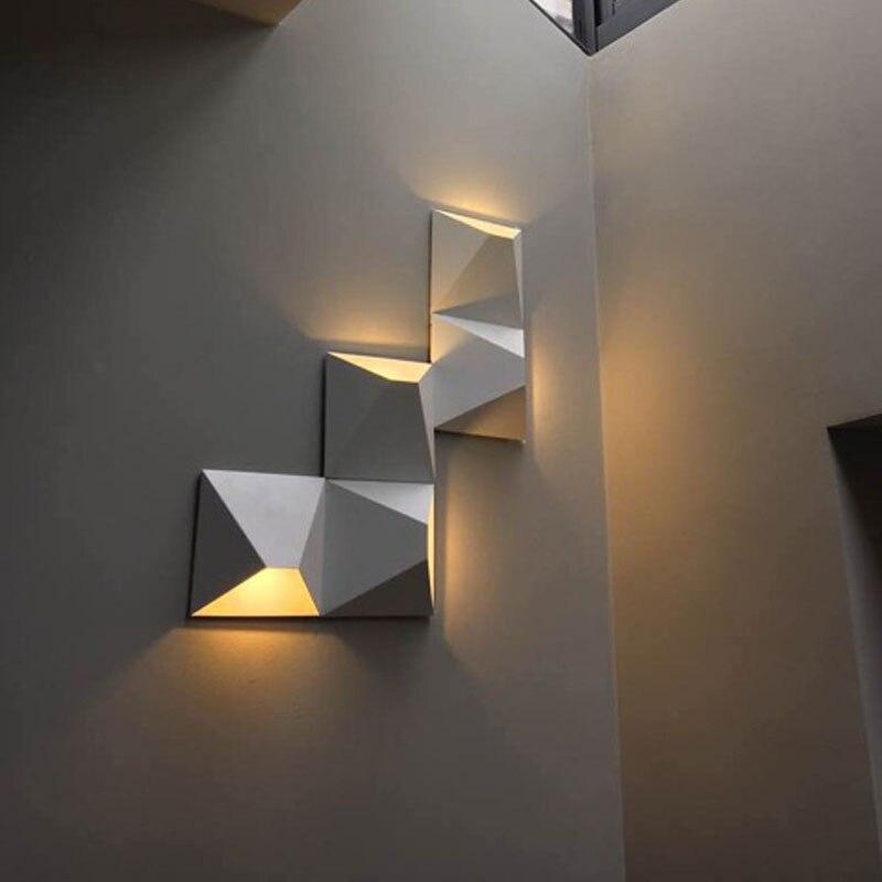 Modern LED Wall Lamp Geometric Iron Black White Wall Sconces DIY Magic Box Wall Lights For Living Room Bedroom Light Fixtures modern black butterflies pattern diy wall sticker clock