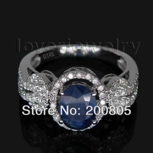 New Vintage Oval 5x7mm 14Kt White Gold Diamond Blue Sapphire Ring For Women BAB120 new vintage 14kt rose gold diamond kunzite ring wedding ring oval 10x17mm r00324