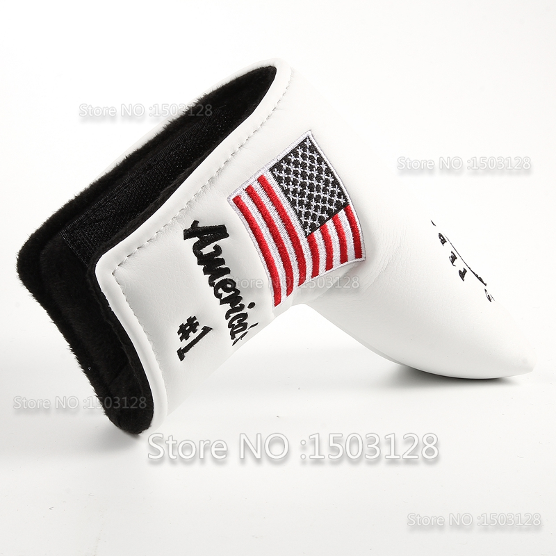 Image 4 - New USA American No.1 Flag Long LifeTree White Golf Putter Cover Headcover  Closure for Blade Golf Putter Free Shipping-in Club Heads from Sports & Entertainment