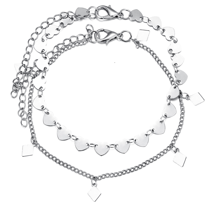 2 Pcs set New Sequins Heart Geometric Silver Anklets Trendy Foot Chain Ankle Bracelets on Leg for Women Bohemian Jewelry in Anklets from Jewelry Accessories