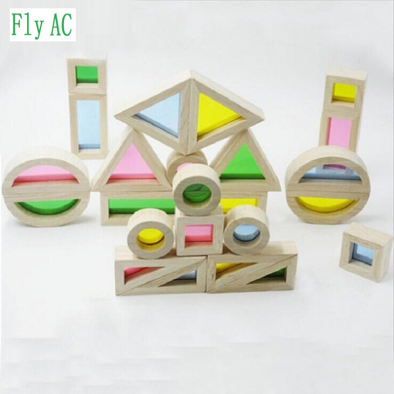 [Fly AC] Montessori rainbow building blocks baby early education creative intellectual wooden Toys For Children Birthday Gift baby educational wooden toys for children building blocks wood 3 4 5 6 years kids montessori twenty six english letters animal