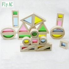 [Fly AC] Montessori rainbow building blocks baby early education creative intellectual wooden Toys For Children Birthday Gift