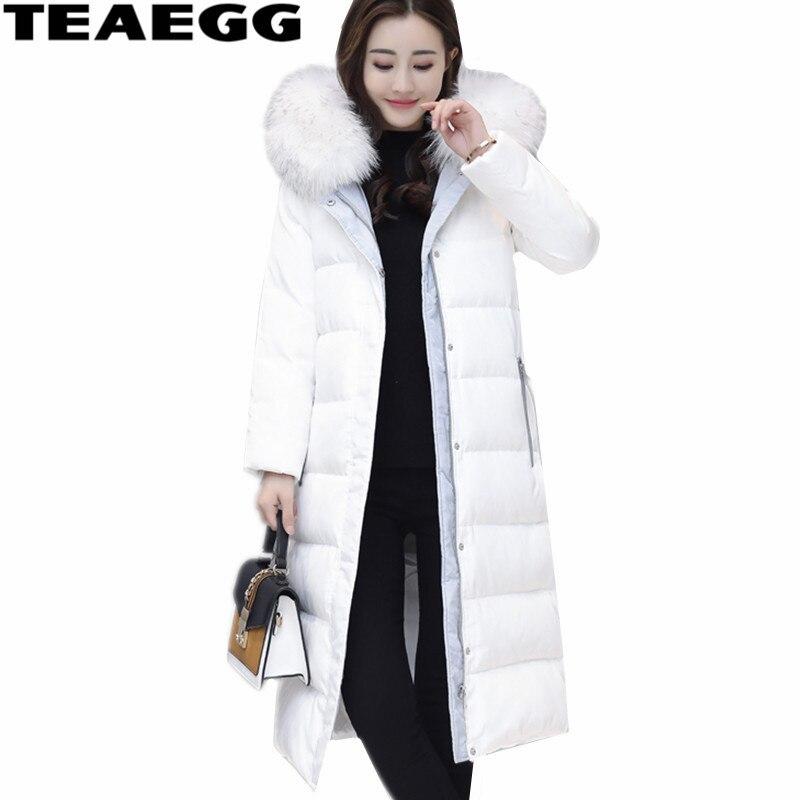 TEAEGG Slim High Quality Women Jacket Winter 2017 Faux Fur Collar Thick Womens Down Jacket Women Clothing Warm Down Coat AL453