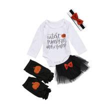 newborn baby girl halloween romper tutu leg warmer headband clothes 4pcs set