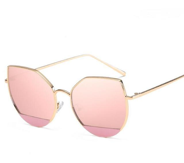 d7144bd64be N130 Unique Simple Cat Eye Sunglasses Women Rose Gold Frame Mirrored Sun  Glasses Cateye Shades A lunette femme