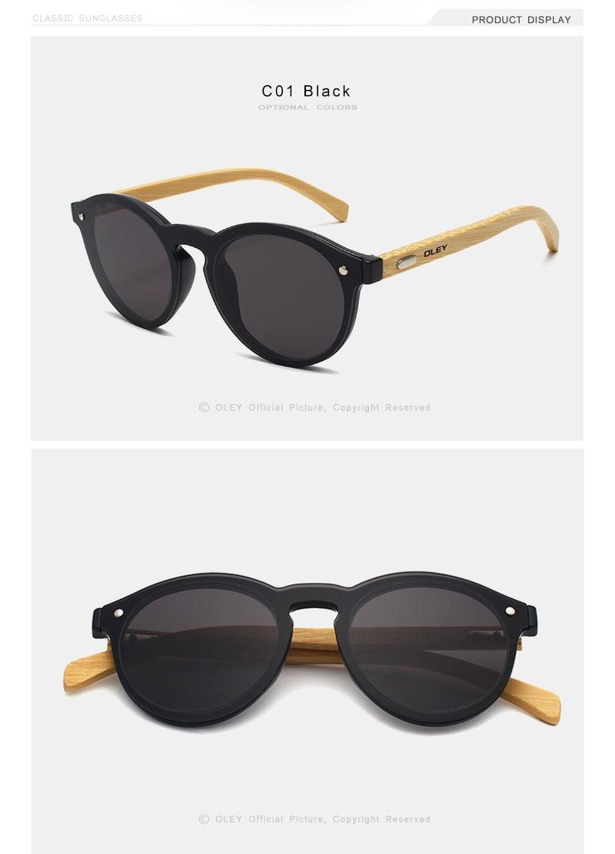 OLEY  Brand Bamboo Leg Color Film Sunglasses Women Classic Round Overall Flat Lens Fashion Retro Female sun glasses Z0479