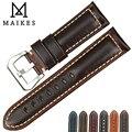 MAIKES Vintage marrón reloj Correa 20 22 24 26mm hecho a mano italiano cuero Correa reloj accesorios hombres para reloj Hamilton correa