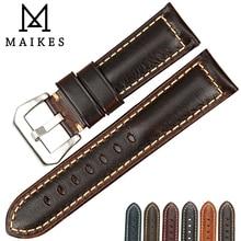 Maikes marrom vintage relógio banda 22 23 24 26mm artesanal pulseira de couro italiano acessórios relógio masculino para hamilton pulseira