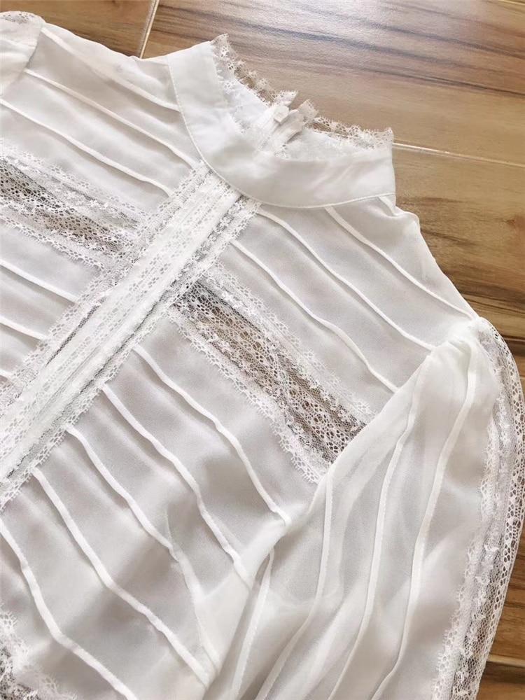 Manches Ete Truevoker Printemps mollet Blanc Robe Femme High Street Femmes Patchwork Mi Soie De Longueur Pleine Designer Pur Dentelle rzqwxdBrU