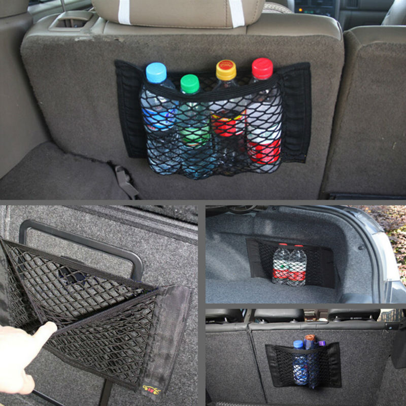 Yueser 4 Pack Car Boot Storage Nets Car Storage Pockets with Velcro Closure Car Rear Back Seat Organizer Pockets 4 Sizes
