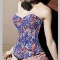 Nova Moda Sexy Impressão Overbust Ossos de Aço Espartilhos Mulheres Novidade Floral Íntimo Denim Corpetes Cinchers Cintura