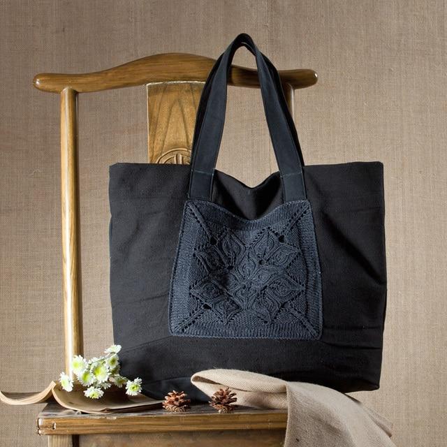 dcb19c151c9d Хлопок тканевые сумки 2018 Бесплатная доставка ручной работы сумка вязаная  пряжи женские сумки Холст Cross-