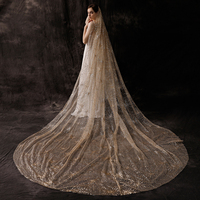 Luxury Spray Gold Sequins Veil Cathedral Long One Layer Champagne Golden Color Veils for Wedding Bridal Hair Jewelry with Comb
