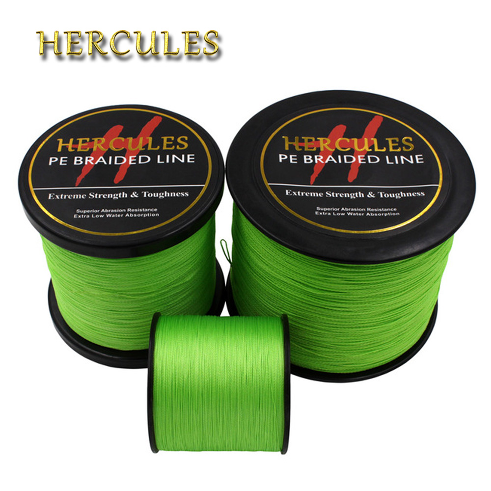 Hercules PE Braided Fishing Line Fluorescent Green Sea Fishing Cord Super Strong 4 Strands 100M 300M 500M 1000M 1500M 2000M