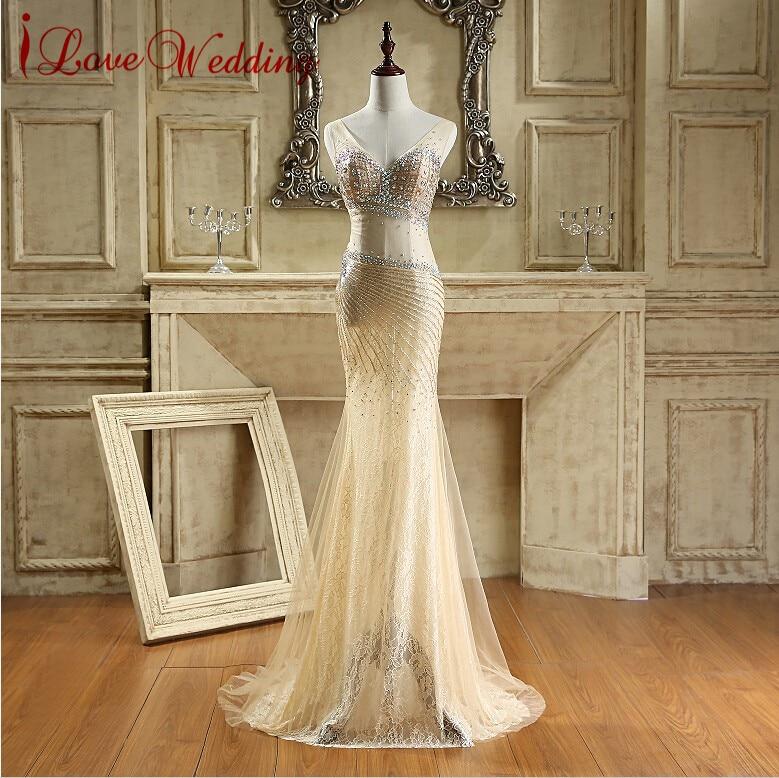 Sexy Sparkling Crystal Μακρύ Βραδινό Φόρεμα Νέα Άφιξη Επίσημα Φορέματα V Λαιμό Beaded Robe De Soiree Γοργόνα Prom Φόρεμα Στο Αποθέματα