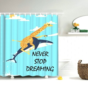 Image 2 - Dafield Cat Shower Curtain Cool Animals Funny Kitten Cat Taking a Gun With Riding a Horse Bathroom Shower Curtains with 12 Hooks
