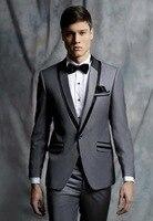 Designs Coat Pant mới nhất Xám Men Formal Suit Skinny Cưới prom tuxedo chú rể gentle modern custom 2 piece áo khoác terno OD1
