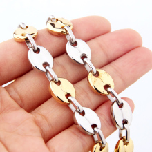 Granny Chic Fashion Jewelry Stainless Steel Necklace 11mm Coffee Beans Link Chain Silver Gold Color For Men Women 7-40