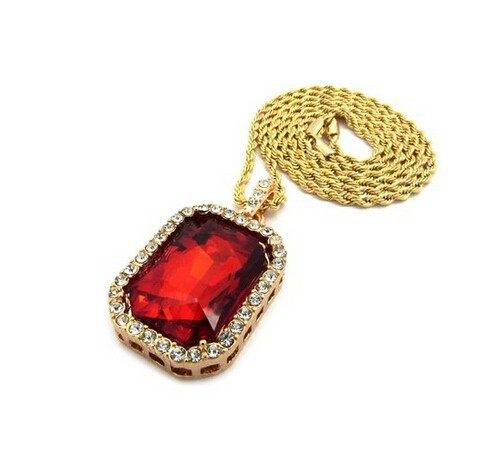 Online shop mens gold color iced out red crystal pendant necklace aeproducttsubject aloadofball Gallery