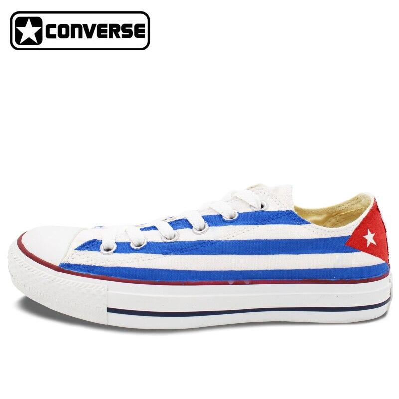 Sneakers Women Men s font b Converse b font Chuck Taylor Cuba Flag Custom Design Hand