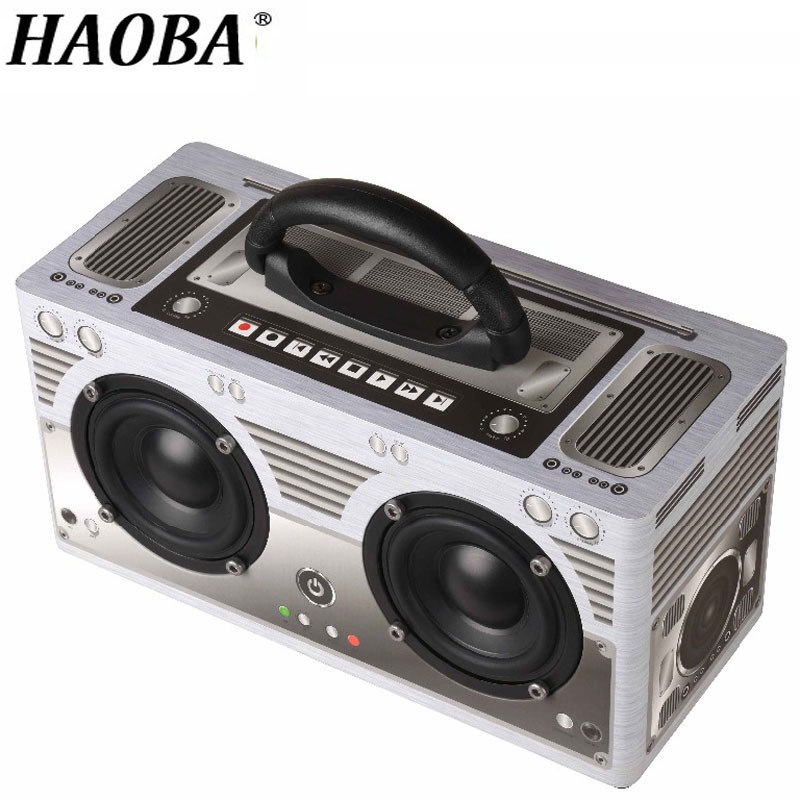 HAOBA Wireless Bluetooth Speaker Portable Outdoor Wood Speaker Subwoofer Stereo Support Hands-free Call TF Card