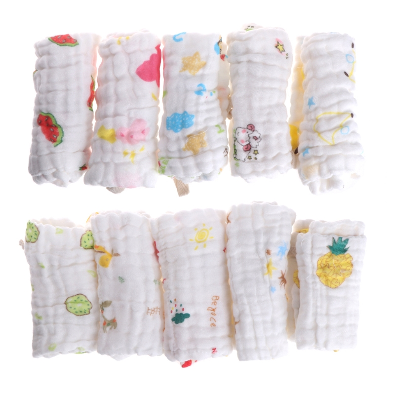 5pcs Baby Handkerchief Square Towel Muslin Cotton Infant Face Towel Wipe Cloth-m15