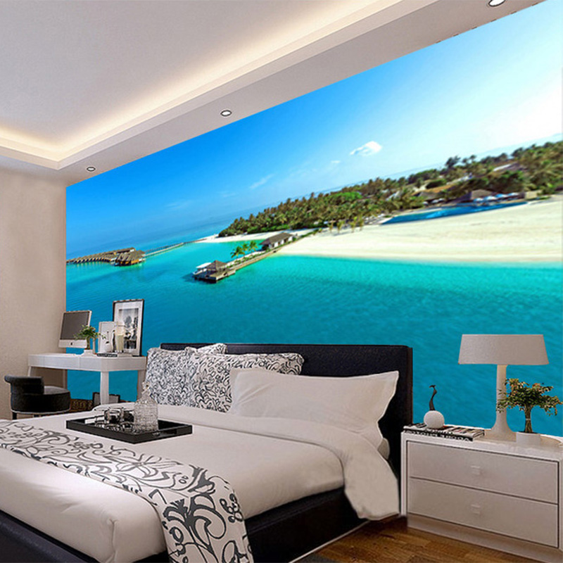 Beautiful maldives beach seaside landscape 3d wall mural for Mural 3d simple
