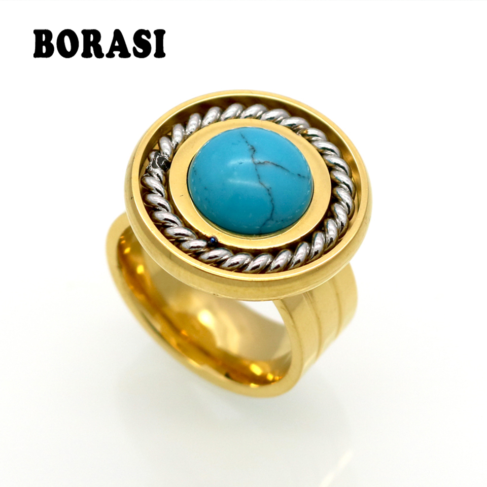 New Arrival Fashion Jewelry Vintage Stainless Steel Antique Gold Color And Silver Color Personality White Round Stone Ring