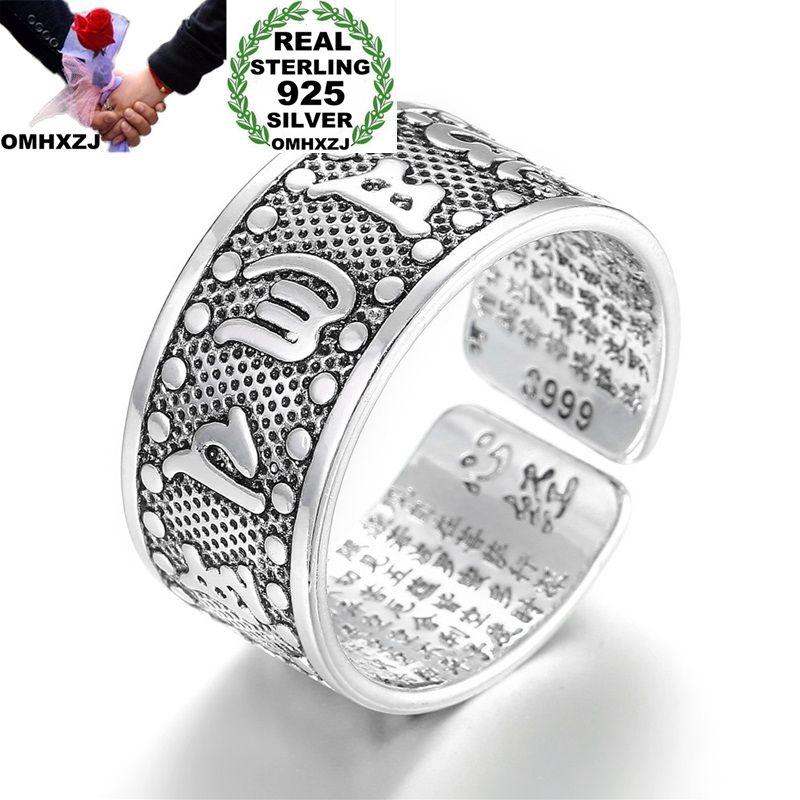 OMHXZJ Wholesale European Fashion Woman Man Party Wedding Gift Silver Black Chinese Words Engraved Open Taiyin Ring RR338