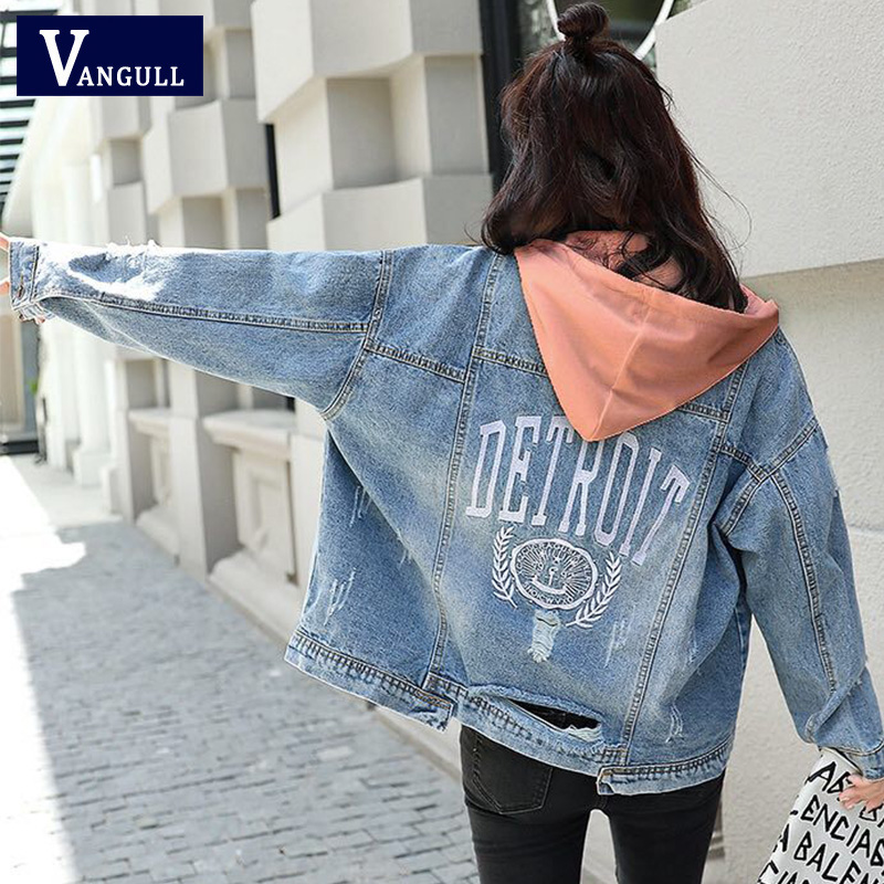 Vangull Plus Size 4XL Autumn Winter Women   Basic     Jacket   Coat Female Slim Hooded Cotton Casual Female   Jackets   Frayed Outwear 2019