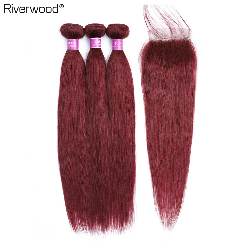 Brazilian Straight Hair Bundles With Closure 99j Burgundy Red Bundles With Closure 100 Remy Human Hair Extension Fast Shipping