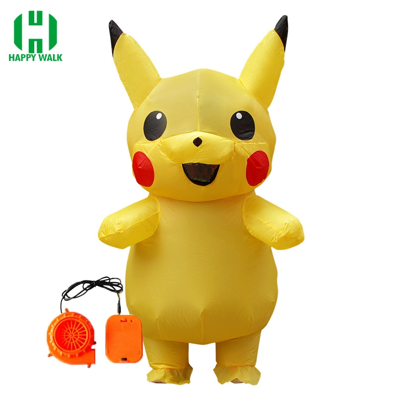 Newest Children Pikachu Inflatable Costume Funny Halloween Costume For 0.9m-1.3m Kid Inflatable Outfits Cartoon Cosplay Costume
