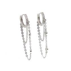 2019 novo 925 prata esterlina tassell cz brinco redondo elegância feminino presente jóias com redondo cz link corrente orelha elegante estilo