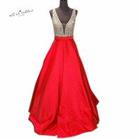 Vestido De Formatura Longo Christmas Prom Dresses 2018 Long Crystals Evening Gowns Formal Party Girls Teens