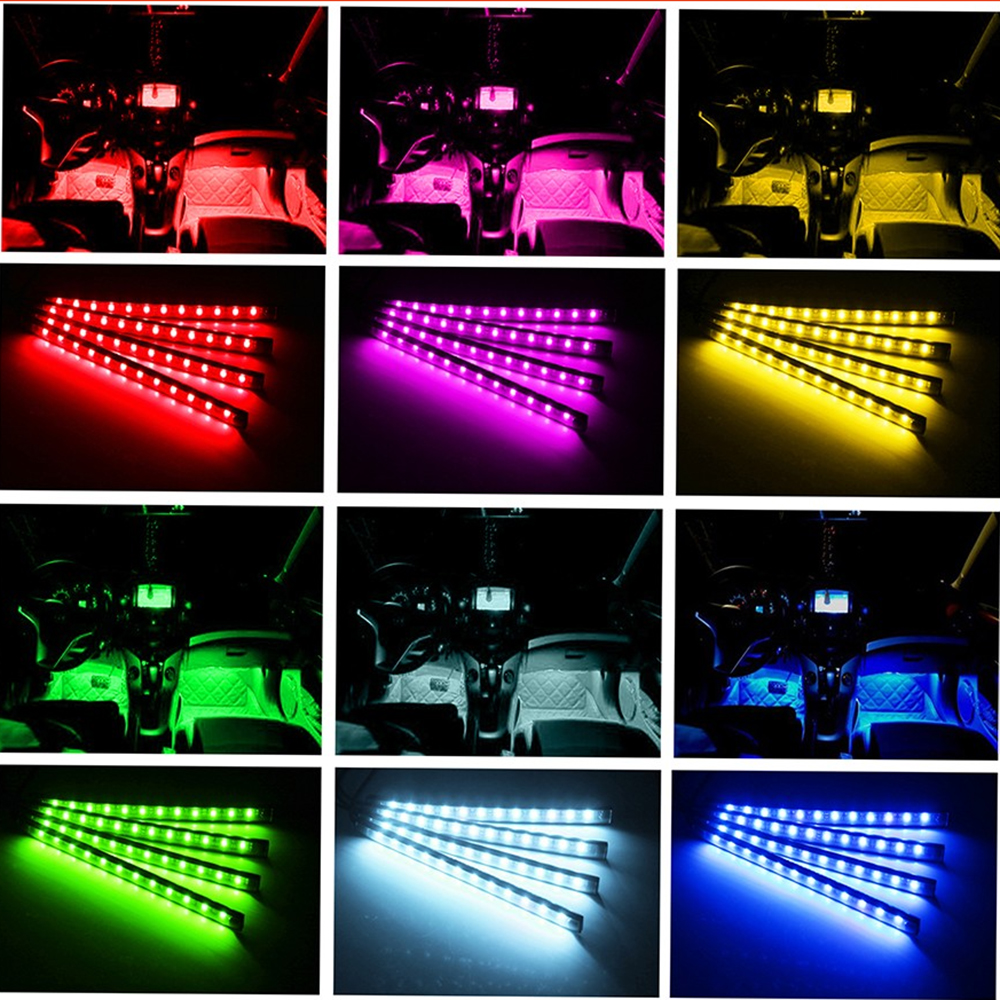 Car Interior Automobile Atmosphere Strip Light Indoor Sound Auto Glow Decorative Floor Lamp with Phone Controller for Android high quality 4pcs 3 led universal car accessory glow interior decorative atmosphere light purple orange lamp