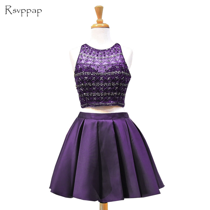 Stunning Two Piece   Prom     Dresses   2019 Sheer Scoop Neckline Heavy Beading Satin Girl Purple   Prom     Dress