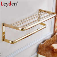 Leyden Modern Towel Shelf With Bar ORB Antique Brass Gold Chrome Wall Mounted Towel Bar Shelf