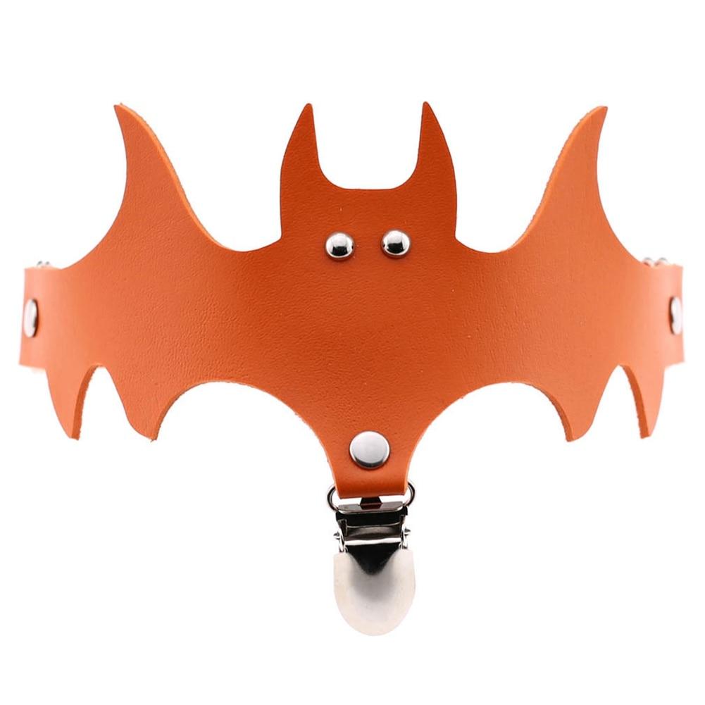 Newly Women Bat Wings PU Leather Choker Garter Belt Leg Ring Clip Halloween Decor Accessories M99