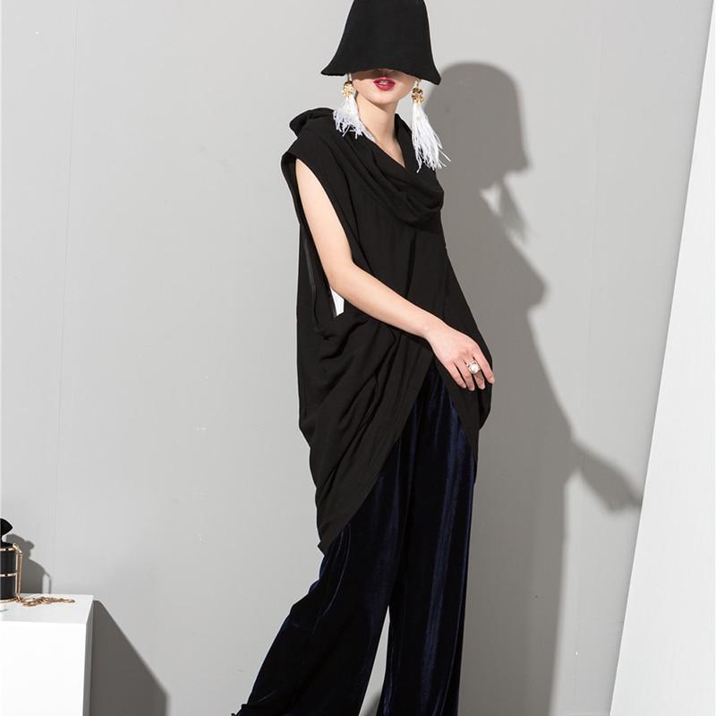 [EAM] 2018 Осень Новые летние Для женщин свободная блузка темперамент рукавов Повседневное черная рубашка женщи блузка универсальные Q011