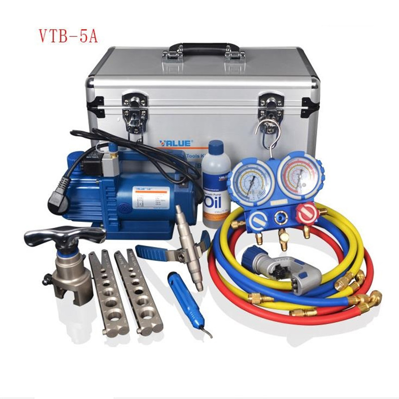 VALUE 7in1 VTB-5A Refrigeration Repair Tool Set With Aluminum alloy box Refrigeration Toolbox Set Flare Device Vacuum Pump combination tool set r410 double gauge valve expander vtb 5b