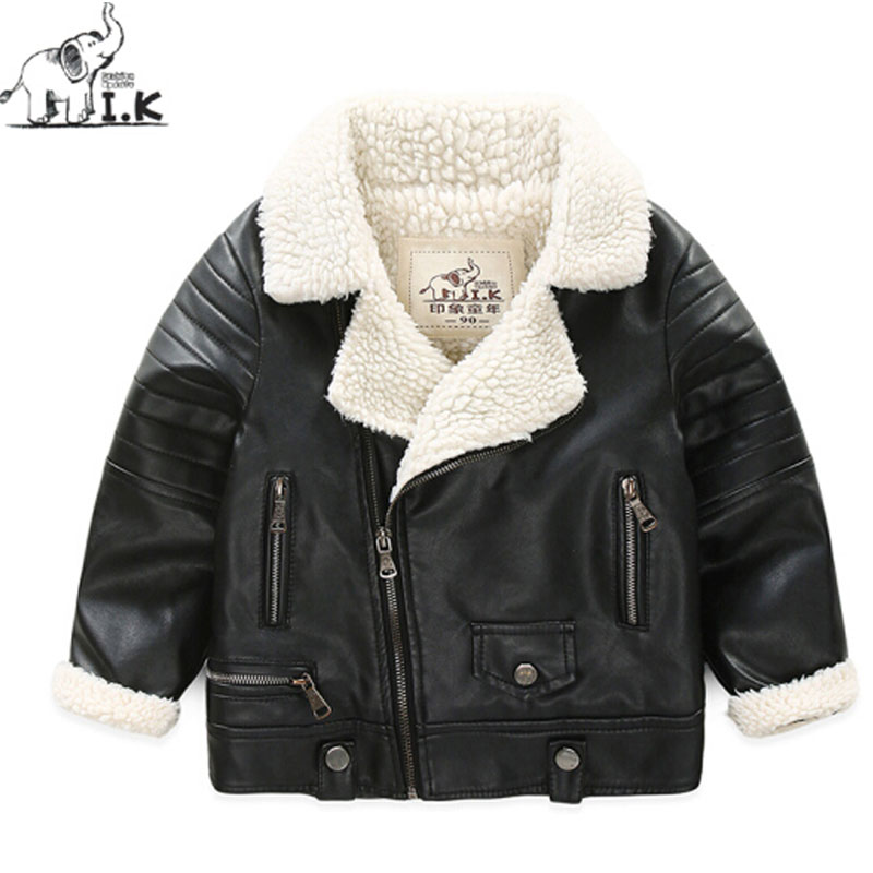 I.K Boys Parkas Jackets For Winter Warm Turn Down Collar 2017 Fashion Children Baby Kids Outwearcoats PU Leather Coats DP3009 girl winter down jackets children coats warm baby 100