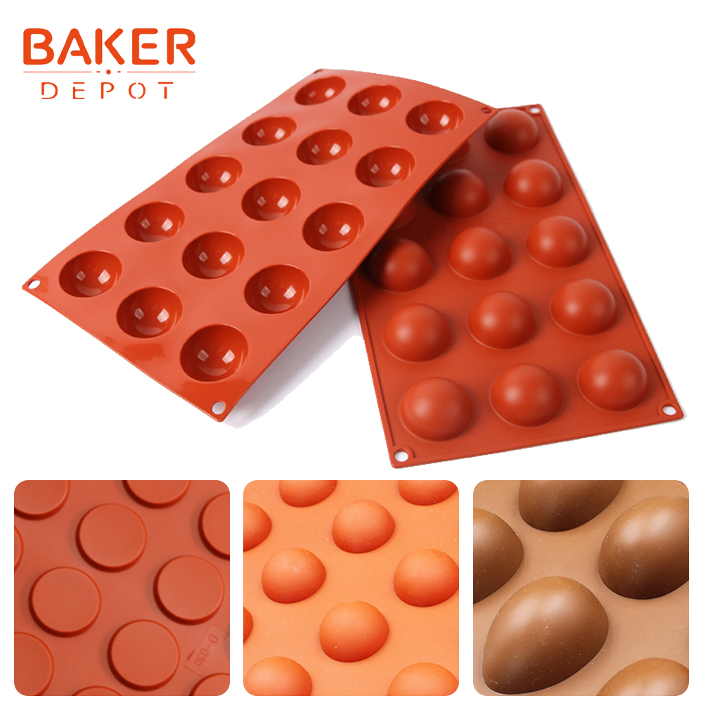 BAKER DEPOT dome silicone cake soap mold round chocolate candy fondant mould pudding jelly ice molds cake baking bakeware tools