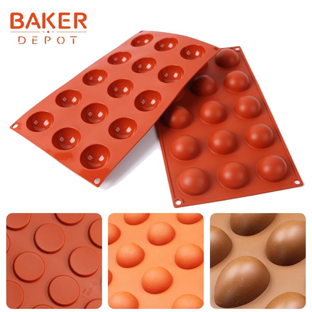 BAKER DEPOT kupola silikona kūka ziepju veidne apaļas šokolādes konfektes pelējuma pudiņu želejas ledus veidņu kūka cepšanai bakeware instrumenti