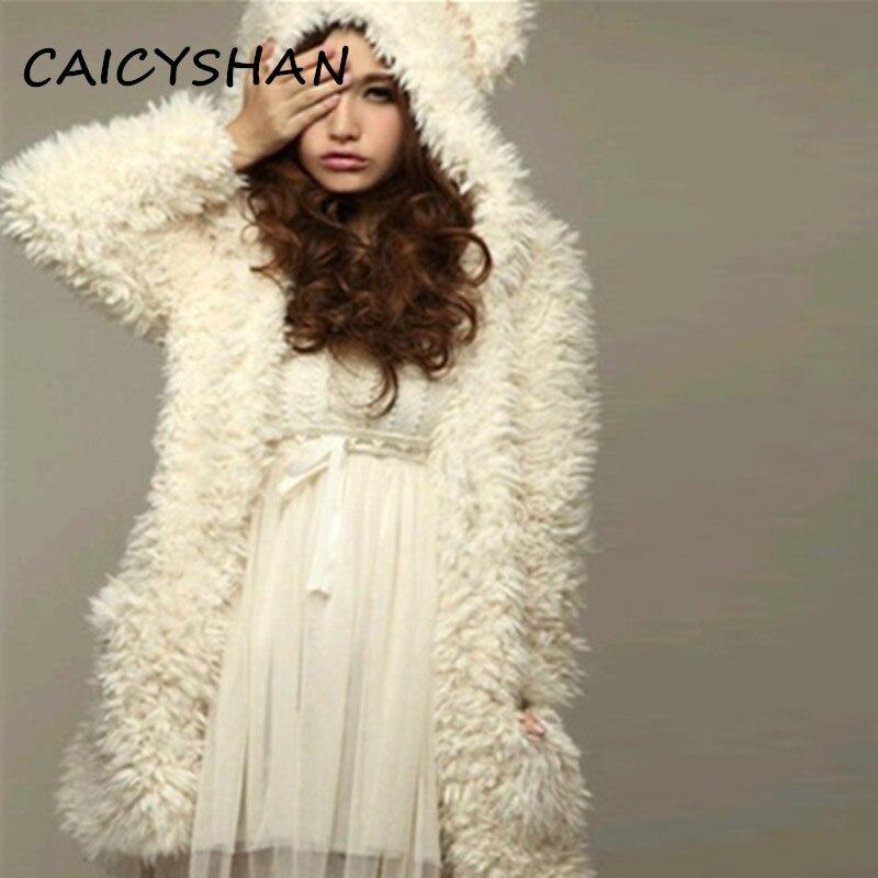 Podzim Zima Nové Dámské Kabáty Vestidos Fashion Plus Velikost Volné Roztomilé Medvídek Ucho Plyšový kabát Pro ženy Velké Vrchní Oblečení